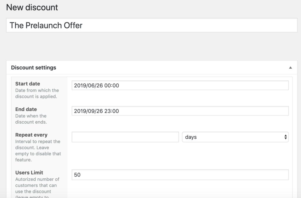 Prelaunch Discount example 01