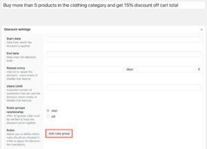WooCommerce dynamic pricing - example 2