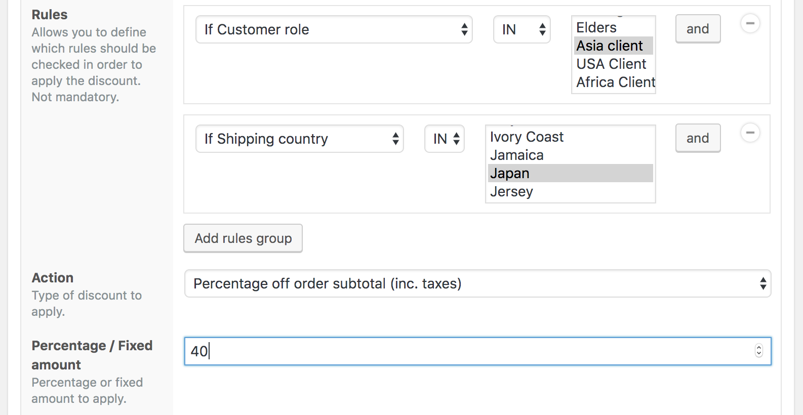 Asian client discount for Japan shipping country