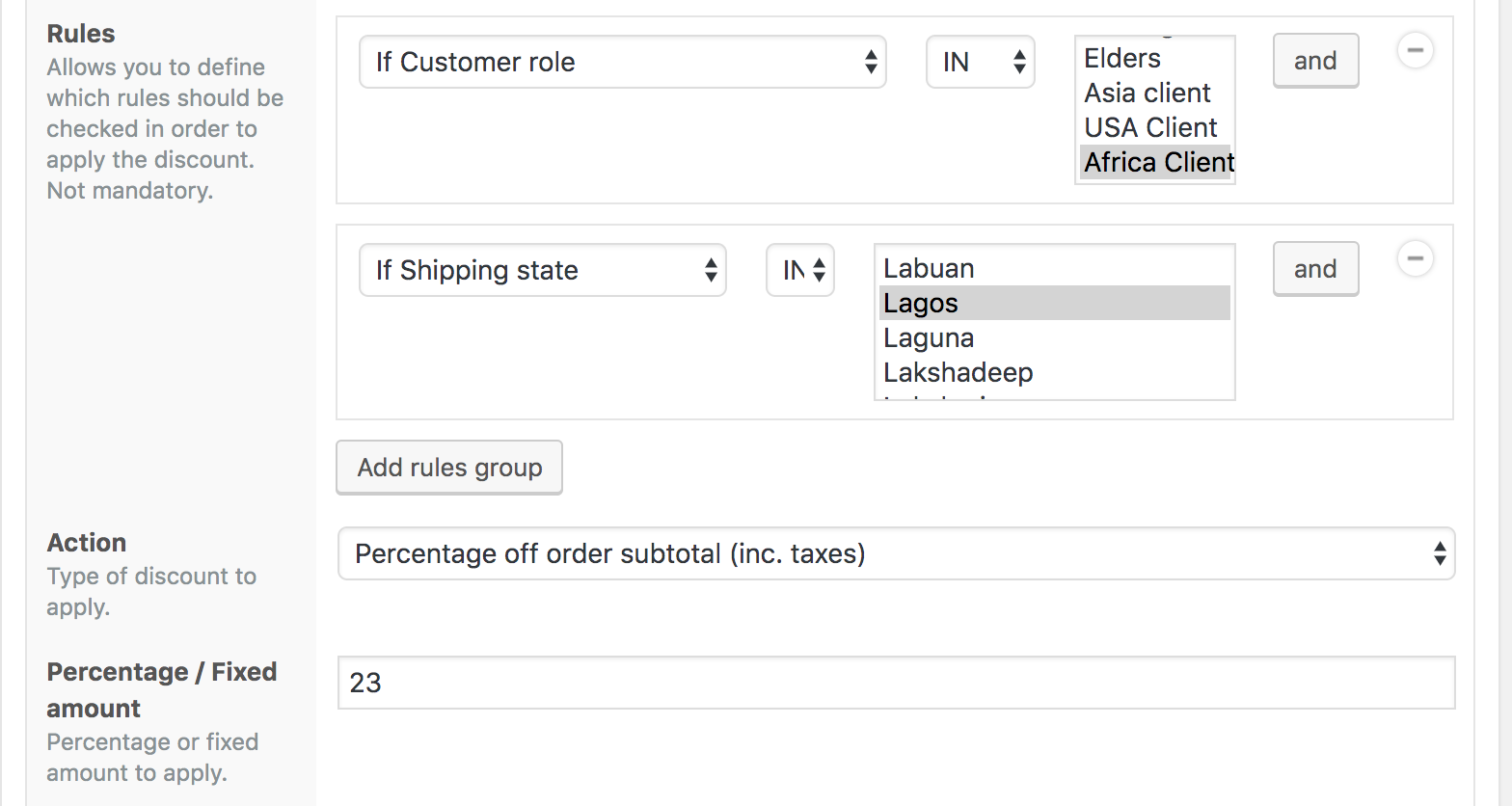 African client discount for Lagos shipping state