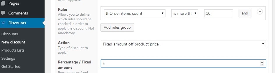 Volume discount type for products