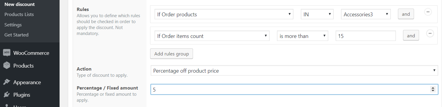 Volume discountexample based on number of ordered products
