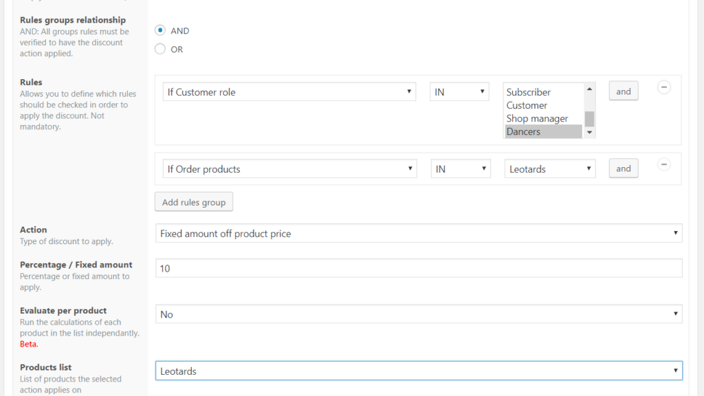 WooCommerce Role based discounts example: If customer role in Dancers, and if ordered products in Leotards