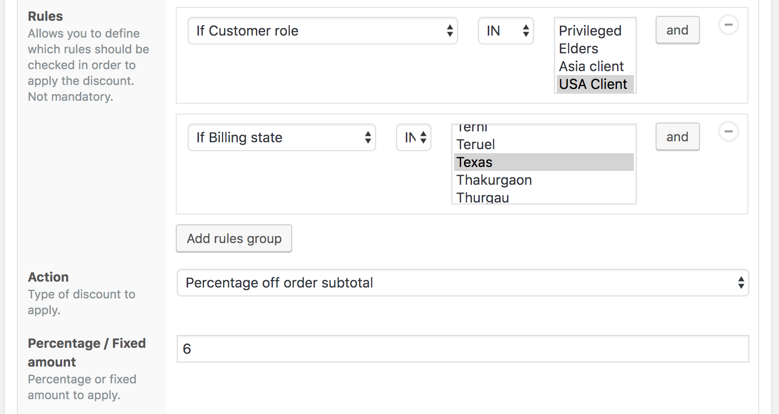 6% discount to USA clients billing from Texas