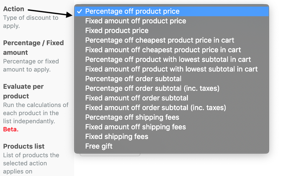 Available Actions in the Discount