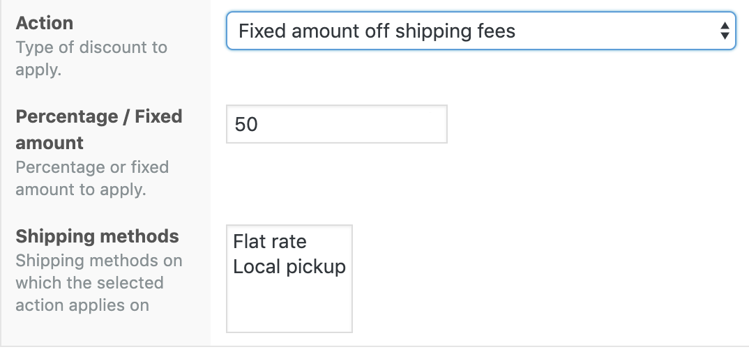 Shipping Methods display