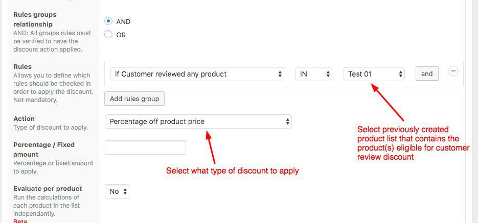 Discount Actions View showing how to create discounts for customers who reviewed your products
