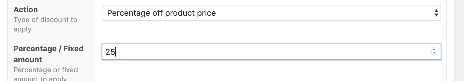 Percentage off product price Action